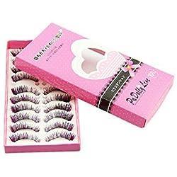 OVERMAL 10 Pair Natural Long Thick Color False Eyelashes Charming Eye Lashes Makeup