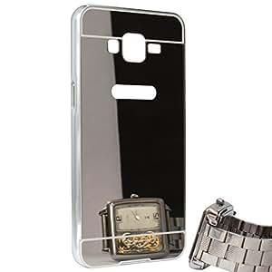 DMG Premium Mirror Metal Bumper Hard Back Cover Case for Samsung Galaxy Grand Prime G530H (Silver)