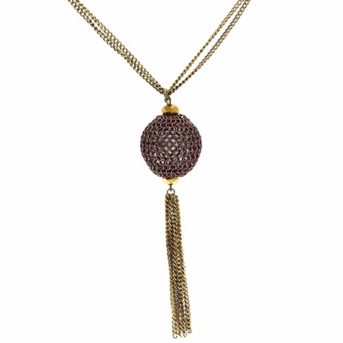 Marco Francisco Antique Goldtone Purple Orb Chain Necklace