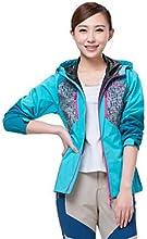 Makino Women39s Front-zip Hooded Rain Jacket Windbreaker Outwear 1249-2 - Sky Blue - XL