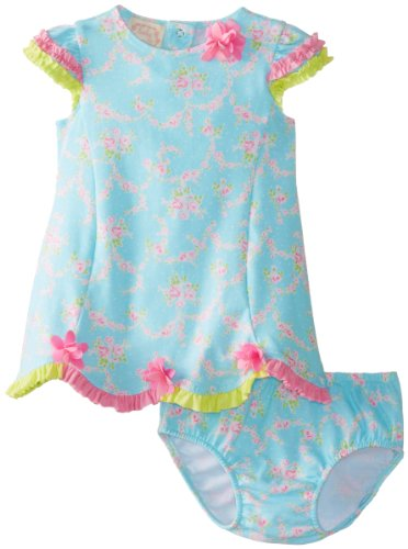 Biscotti Baby-Girls Newborn Little Sprite Dress And Bloomer, Aqua, New Born front-977072