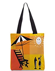 Snoogg Summer Holiday With Palm Tree And Parasol On The Beach Series 7 Designer Poly Canvas Tote Bag