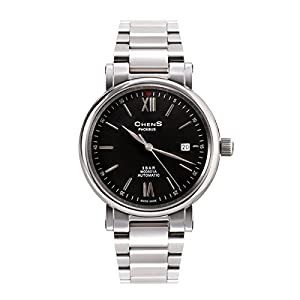 CHENS M005.01A Reloj Analógico Mecánico Para Caballero Correa Plateada De Acero Inoxidable Esfera Negra Hecho En Suiza