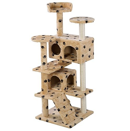 new-52-cat-tree-tower-condo-furniture-scratch-post-kitty-pet-house-play-beige-paws-soft-plush-beige-