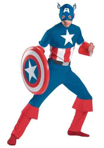 Classic, Retro Captain America Comic Book Costume - XL