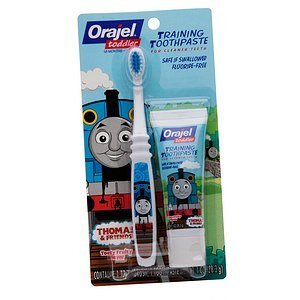 Orajel Thomas and Friends Fluoride-Free Training Toothpaste with Toothbrush, Tooty Fruity, 1.0 Oz