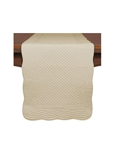 KAF Home Quilted Boutis Table Runner, Flax