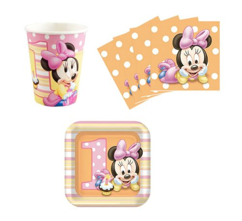 Minnie Mouse Baby 1St Birthday Party Supplies Set Plates Napkins Cups Kit For 16 front-1064561