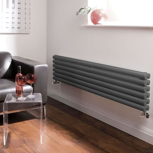 Milano Aruba - Anthracite Designer Double Radiator - Curved Panels - Luxury Central Heating Horizontal 'Oval' Columns - 354mm x 1780mm