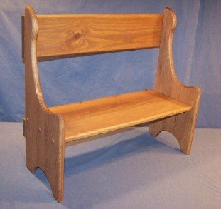"Children's Wooden Play Furniture - Mini Deacon Bench - 8"" Seat Height"