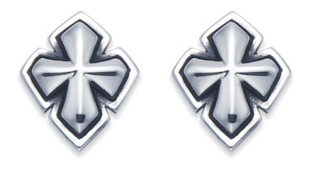 Stainless Steel Double Layer Cross Stud Earrings