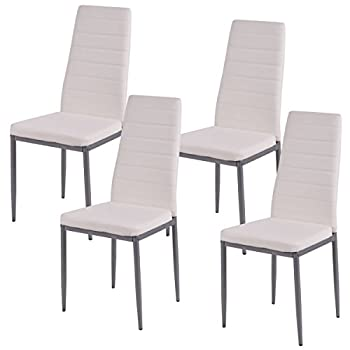 COSTWAY Elegant Design PU Leather Dining Side Chairs Home Furniture,White,Set of 4