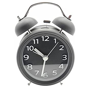 Innolife 3 Quiet Non-ticking Silent Quartz Analog Retro Vintage bedside Twin Bell Alarm Clock With Loud Alarm and Nightlight (3D Number Black) by InnoLife