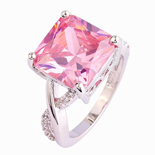 Psiroy 925 Sterling Silver Grace Womens Band Charms Gorgeous 12mm*12mm Princess Cut Pink topaz Filled Ring
