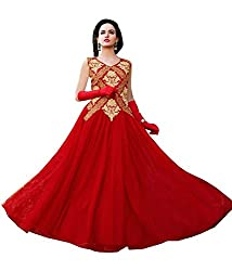 Fashion Web Women's Net Embroidered Semi-Stitched Anarkali Ethnic Gown (fw-137_Red_Free Size)