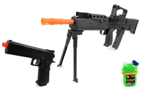 (Combo) British Sa80 Spring Airsoft Gun Fps-320 + Armed Defense Electric Blowback Airsoft Pistol Full Auto Fps-180 + 1000 Bb'S Clip-On Holster Container