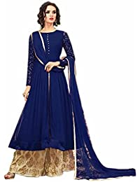 ARYAN FASHION Designer Beautiful Blue Nd Beige Embroidered Long Anarkali Suit Semi-Stitched Suit ( Bottom Unstitched)