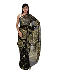 A1 Fashion Women Brasso & Net Black Saree With Blouse Piece - B00VUS215I