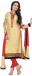 Renisha Fashion Women's Brasso Unstitched Salwar Suit (Yellow)