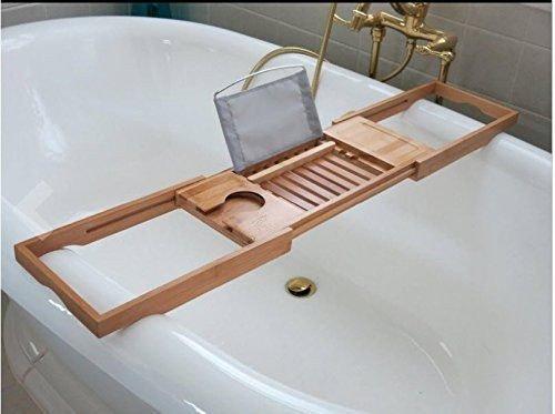 DozyAnt Luxury Organic Bamboo Bathtub Caddy Tray With Extending Sides Bed B
