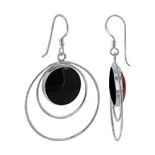 EMES063 Sterling Silver 14mm Round Double Sided Black Onyx and Simulated Coral Wired design French Ear Wire Dangle Earrings
