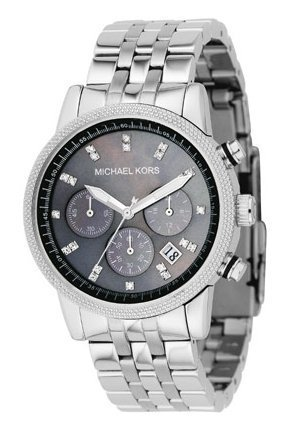 Michael Kors Fashion Women's Quartz Watch with Mother of Pearl Dial Chronograph Display and Silver Stainless Steel Strap MK5021