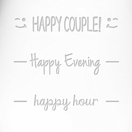 Fineware Happy Hour - Happy Evening - Happy Couple Funny Wine Glass Gift - Two 16 oz Etched Glasses