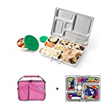 PlanetBox ROVER Eco-Friendly Stainless Steel Bento Lunch Box with 5 Compartments for Adults and Kids - Perfectly Pink Carry Bag with Retro Kitty Magnets (Color: Pink, Tamaño: 5 Compartments)