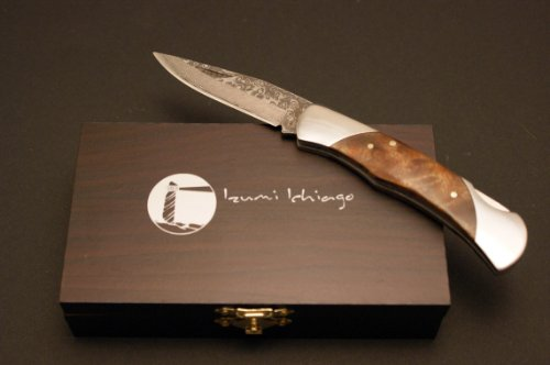 Izumi Ichiago - Little Fox Folder - Japanese Damascus Steel , With Precious Wooden Box