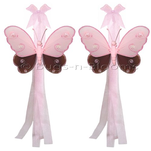 Butterfly Tiebacks Brown & Pink Hailey Nylon