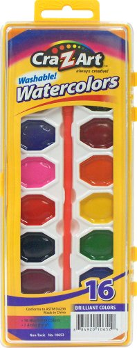 Cra-Z-art Washable Watercolors with Brush, 16 Count (10652)