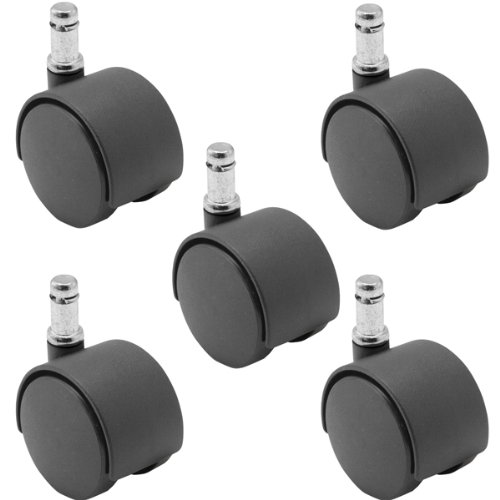 5 Pack – 50mm Nylon Twin Wheel Chair Casters, Black, with 7/16″ x 7/8″ Grip Ring Stem