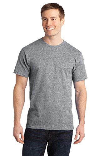 Sportoli174; Men's Essential Basic 100% Cotton Crew Neck Short Sleeve Long T-Shirt - Heather Grey (Size S)
