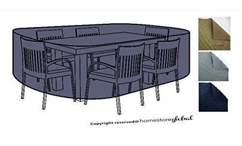 HomeStore Global groß Schutzhülle für Gartenmöbel – Maße ca.: (L) 220 x (D) 200 x (H) 92cm Dick und hochwertigen 600D Polyester Canvas, All-Wetter-beständig und anti-Feuchtigkeit – Holzkohle günstig bestellen