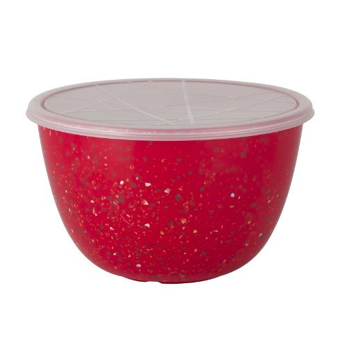 Zak! Designs Confetti Mixing Bowl with Lid, Durable and BPA-free Melamine, 3 Quart, Red (Zak Designs Mixing Bowls compare prices)