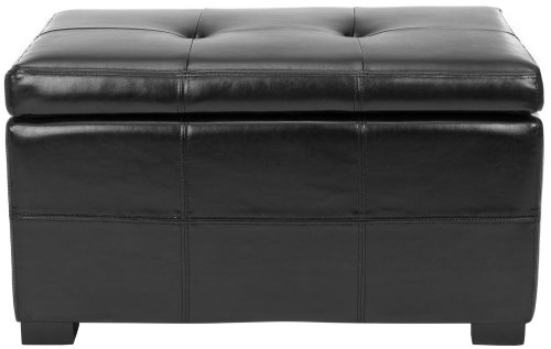 Safavieh Hudson Collection Noho Tufted Black Leather Small