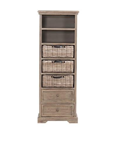 Jeffan Simone Tall Bookcase (2 Drawers+3 Baskets+ 2 Shelves), Grey