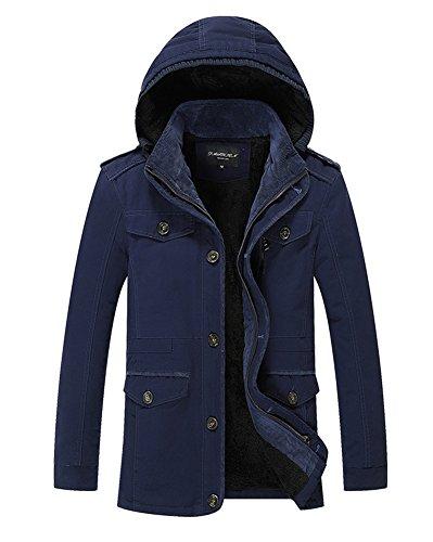 LaoZan Uomo Casuale Trench Coat con cappuccio Invernale Parka Giacca a manica lunga 6XL Blu zaffiro