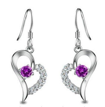Rhodium Plated Silver Diamond Accent Amethyst Heart Shape Earrings