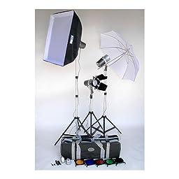 JTL TL-160 Versalight Kit with Three J-160 Fan Cooled Monolights, Stands, Soft Box, Artwork Kit, Snoot, Umbrella, Case & Bonus Digifirer Kit