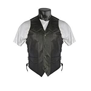 Men's Braided Biker Leather Vest with Side Laces and Gun Pockets 48