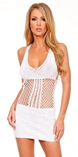 Handmade T-Back Crochet Mini Dress - Medium/Large