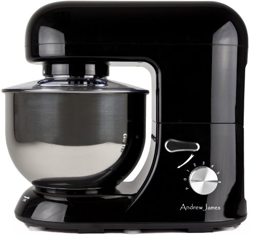 Andrew James 1000 WATT Electric Food Stand Mixer In Stunning Black With Splash Guard and 5.2 Litre Bowl + Spatula + 128 Page Food Mixer Cookbook