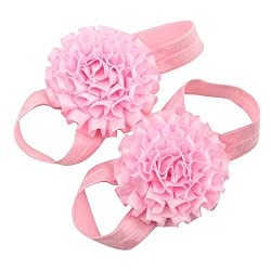 Newborn Infant Baby Barefoot Light Pink Ruffled Satin Flower First Walkers Shoes