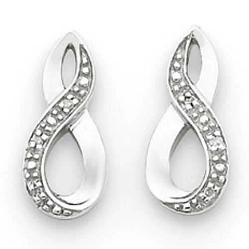 Sterling Silver Rhodium Diamond Post Earrings