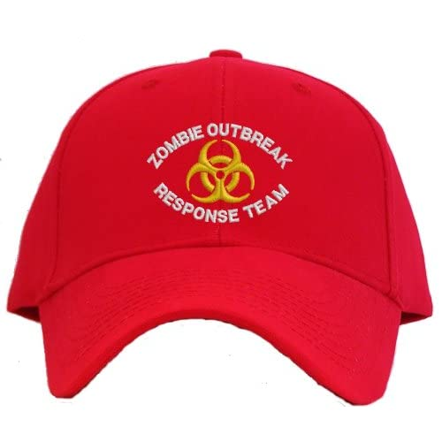 Zombie Outbreak Response Team Embroidered Baseball Cap   Red