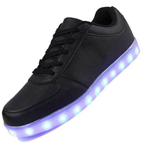 Agrass, 7 colori alla moda, unisex, da uomo, donna, carica USB luminosi LED lampeggianti Scarpe da camminata Scarpe Sport Top LED High Scarpe