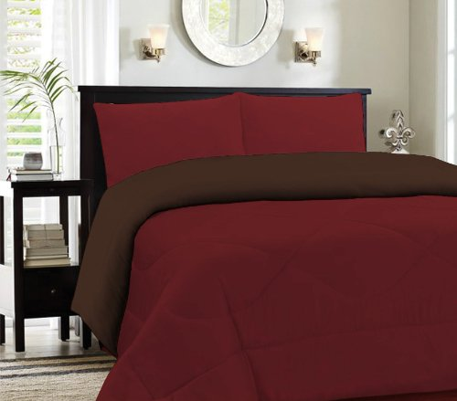 Twin Burgundy/Brown Cozy Reversible Comforter Set
