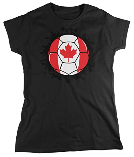 Canada Soccer Ball, Canadian Flag, Canada Pride Women's T-shirt, Amdesco, Black Medium (Canada Soccer compare prices)
