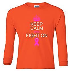 Keep Calm And Fight On Support Youth long sleeve T-Shirt